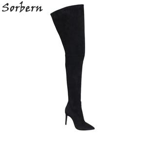 Image 5 - Sorbern Sexy Wees Teen Vrouwelijke Winter Laarzen Dij Hoge Over De Knie Laarzen Hoge Hakken Faux Suede Stiletto Hakken US3 US15