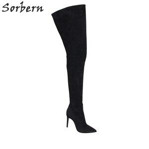 Image 5 - Sorbern, Sexy, puntiagudas, botas de Invierno para mujer, botas altas por encima de la rodilla, tacones altos, tacones de imitación de gamuza, tacones, US3 US15 de tacón