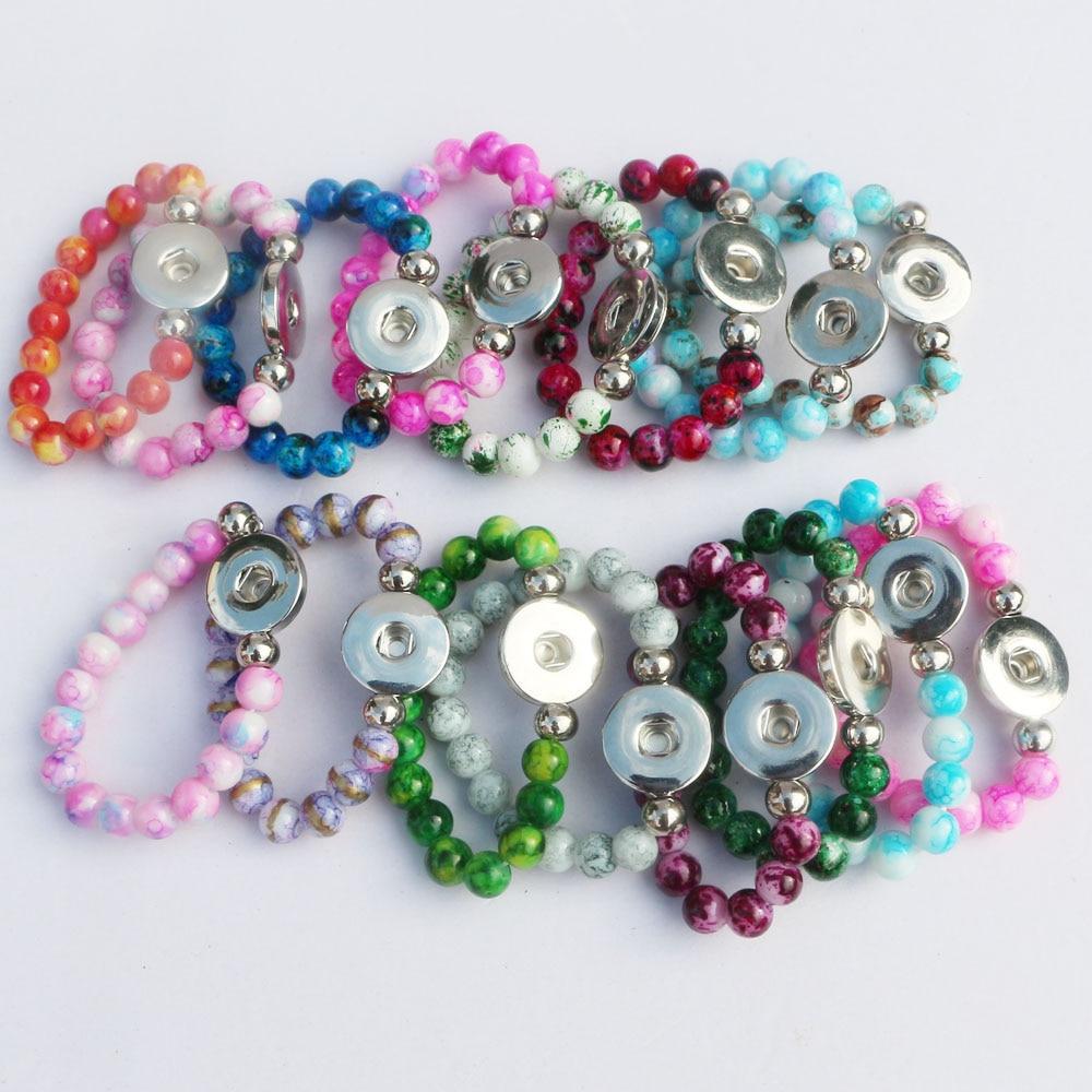 20pcs lot Length 15cm Children Girls Bracelet Colorful Glass Beads Elastic 18mm Snap Button Bracelet Mix