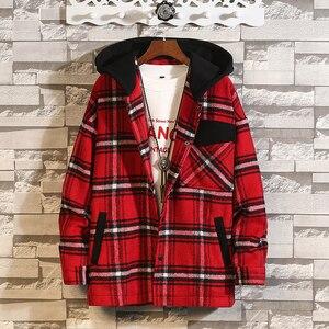 Мужское шерстяное пальто с капюшоном 5XL, мужской шерстяной Тренч в уличном стиле, пальто с капюшоном, красная куртка-кардиган, зима 2019 #3088