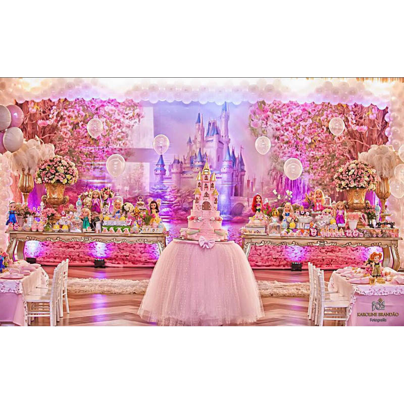 Image 5 - Cherry Pink Flowers Spring Photography Backdrop Rainbow Fairy tale Castle baby shower Children Princess Photo Background S 2711-in Background from Consumer Electronics