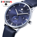Wwoor fotina marca de topo relógio negócio relógio do suíço dos homens ultra fino couro genuíno relógios de quartzo homens relógio de pulso relogio masculino
