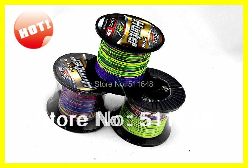 Free Shipping Multicolor 300M/PCS PE Braid Fishing Lines 80lb