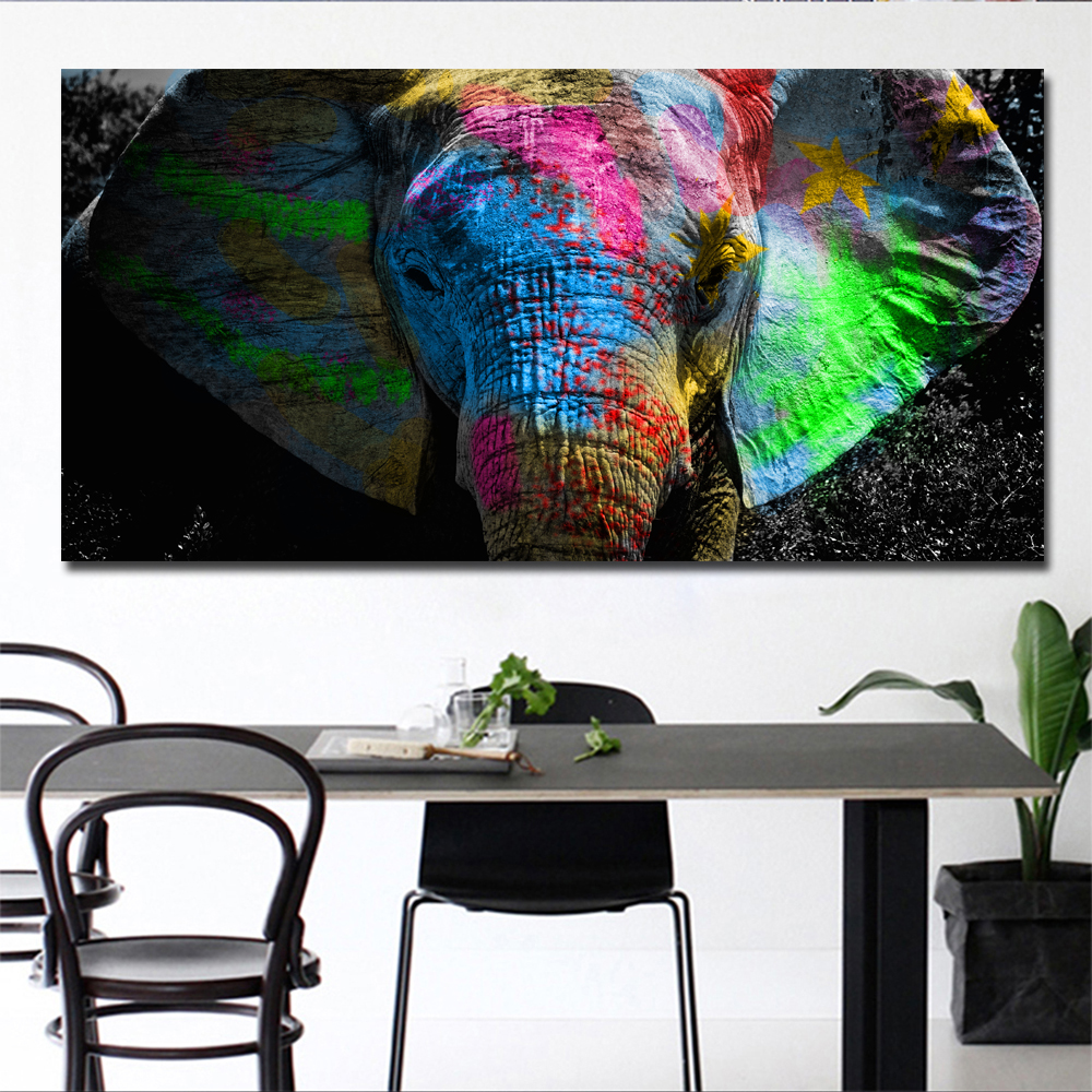 "Colorful Art Painting ""Elephants"""