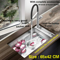 Free Shipping Fashion Push The Button Drainer Mini Luxury Kitchen Manual Sink Single Trough Stainless Steel