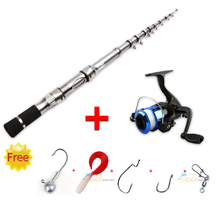 Promotion 1.5 / 1.8 / 2.1m Portable Rock Telescopic Spinning Fishing Rod Set & Fishing Reel Coil Combo Kit With Takcle Lure Free