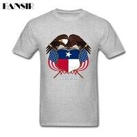 Over Size Texas Coat of Arms Aquila Stampa T-Shirt Da Uomo maschio Bianco Manica Corta Personalizzata Uomo T Shirt Ragazzi Vestiti top