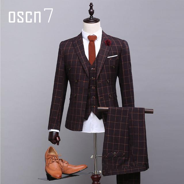 OSCN7 Marrón Oscuro Doble Traje Cruzado Hombres Plaid Impreso Slim Fit Boda Trajes de etiqueta Novio Trajes De Hombre Italia