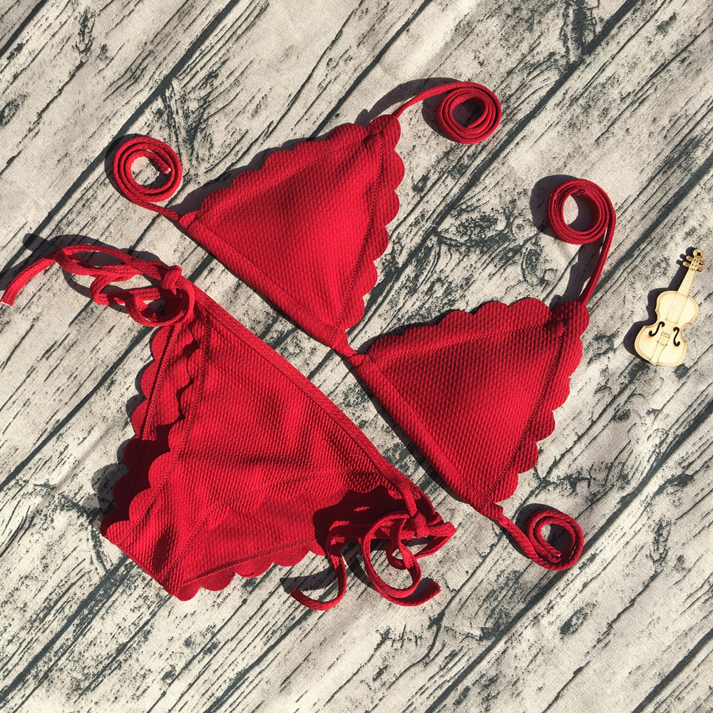 Sexy Bikini Black Red Bandage Woman Bikini Set 2018 Scalloped Swimwear Wave Edge Women Swimsuit Brazil Biquinis Bathing Suits