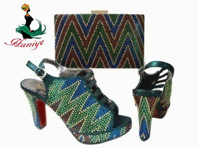 Green high quality italian african shoes an purse promotion shoes amtching bag set for wedding party