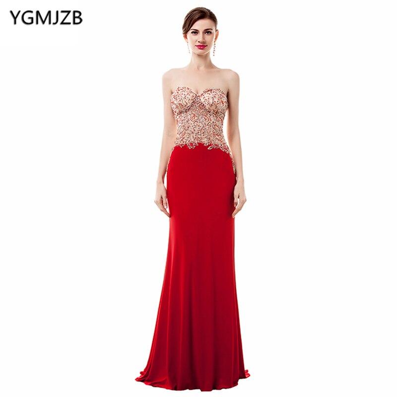 Voir à travers de longues robes de soirée rouges 2019 sirène chérie étage longueur perlée cristal robe de soirée femmes robe de bal robe de bal