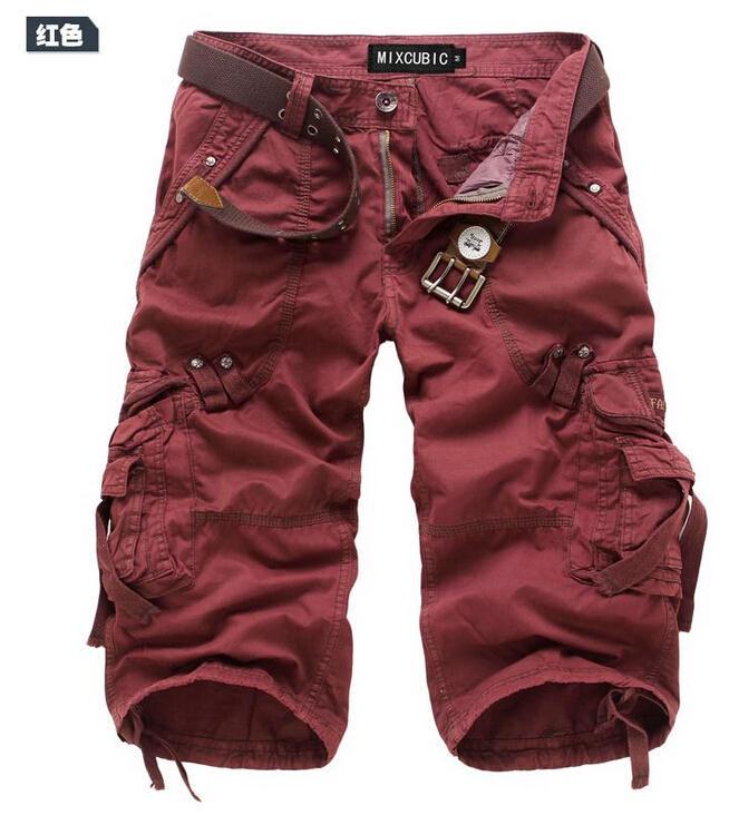 Для мужчин брюки-карго Шорты для женщин бермуды masculina De Marca Для мужчин Повседневное брюки-карго Шорты для женщин Военная Униформа камуфляж хлопок короткий - Цвет: Красный