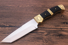 Two Edge Hunting Straight Knife fixed blade knives Survival Tactical Knife Yellow Copper+Wood Handle Leather Sheaths
