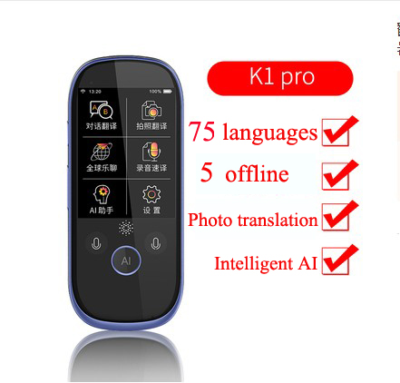 2.4 AI Polegada portátil Inteligente de voz tradutor 75 Idiomas Inglês Japonês Coreano Francês offline tradução tradutor De Viagem
