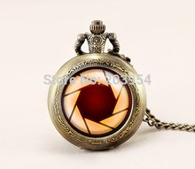 Pocket watch 1pcs/lot quartz Iron Man aperture science vintage Pendant locket necklace movie fashion Jewelry woman steampunk man