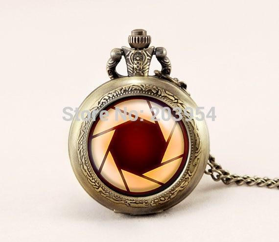 Pocket watch 1pcs/lot quartz Iron Man aperture science vintage Pendant locket necklace movie fashion Jewelry woman steampunk man