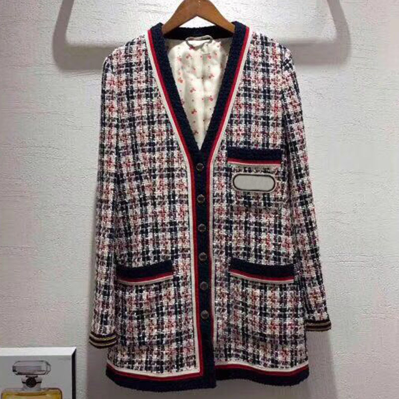 long jacket women 2018 spring autumn women long sleeve jacket fashion plaid jacket coat