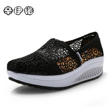 Womens Shoes Promotion 2017 New Women's Vulcanize Shoes Lace Mesh Wedges For Flats Casual Woman Height Increase 12 Colors
