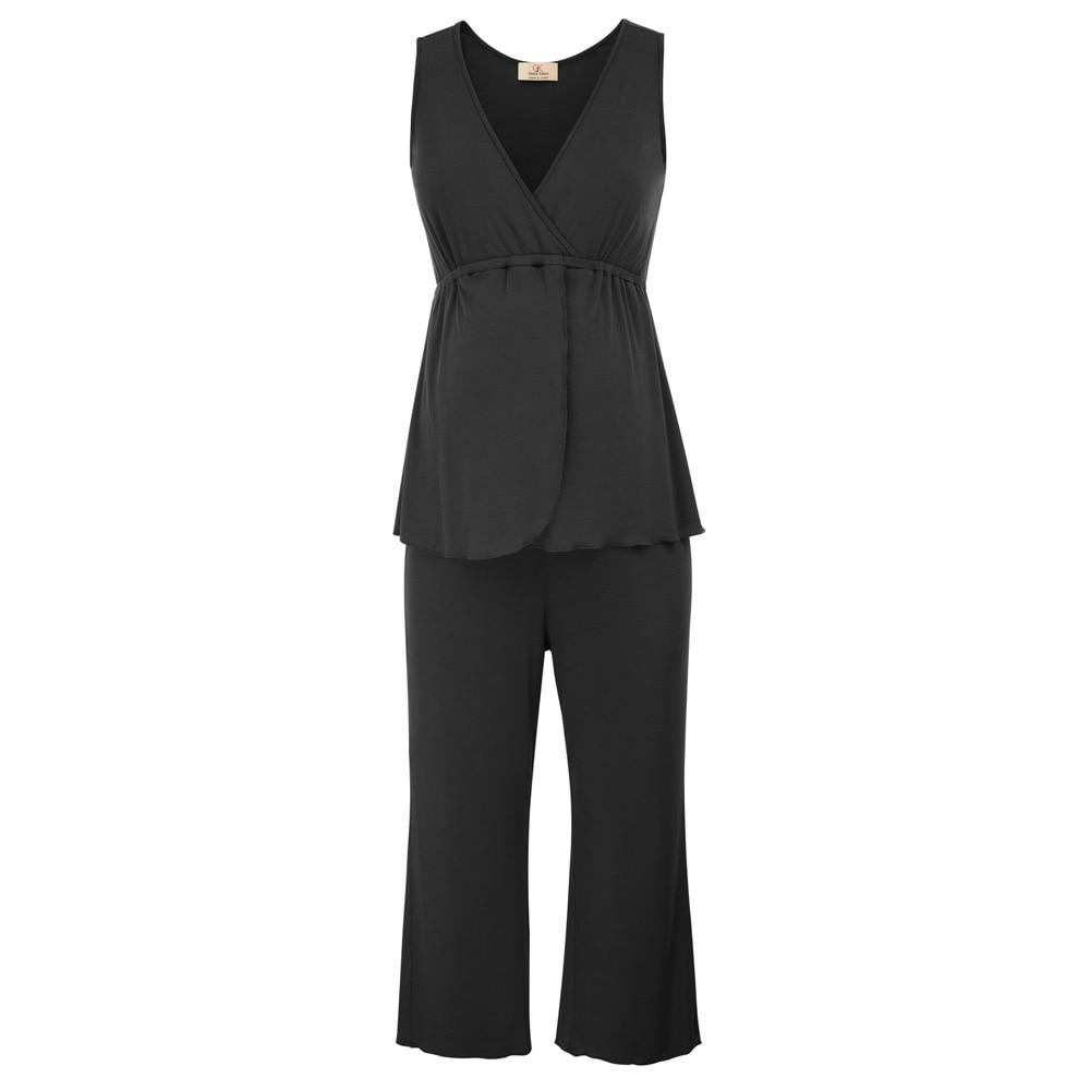 2 pcs set Women clothing Cotton Maternity Nursing Tops+Cropped Pants Sleepwear Pyjama Sets