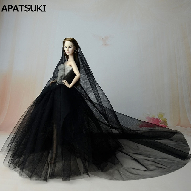 High Quality Black Party Dress For Barbie Doll Long Tail Evening Gown  Clothes Wedding Dresses + 3df87c27c3a8