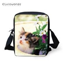 ELVISWORDS Fashion Messenger Bag Flower Leves Cats Prints Pattern Womens Over the Shoulder Kawaii Crossbody Bags Mini Purse
