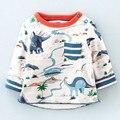 Little maven niños ropa de la marca 2017 de la moda de primavera niños niñas de algodón de manga larga del o-cuello park dinosaur imprimir camiseta ct055