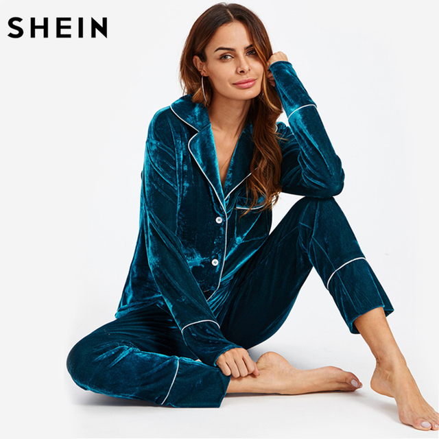 49f247581b SHEIN Autumn Casual Pajamas for Women Sleepwear Blue Long Sleeve Notch  Collar Binding Pocket Top and