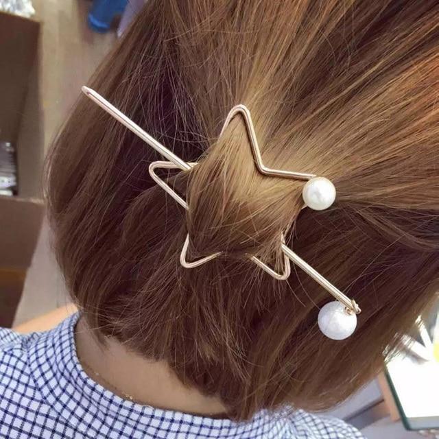 6392aec6e Star Faux Pearls Hair Sticks Hair Bun Holder Hair Slide Pins Fashion  Minimalist Metallic Hair Accessories Barrette Women