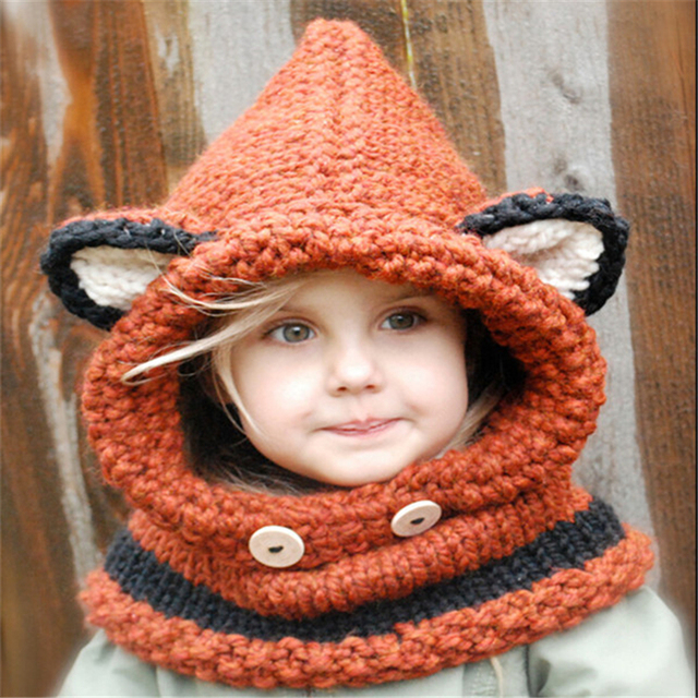 e7691de7040 Children Fox Knit Crochet Hat Neck Head Scarf And Beanie Baby Cute Bear  Hooded Scarf Boys Girld Cowl Cap With Buttons YG601