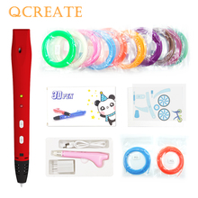 QCREATE 3D Pen QW01-14S Printing Add 50M 10 Color Plastic 1.75mm PCL Filament Low Temperautre Drawing for Kids