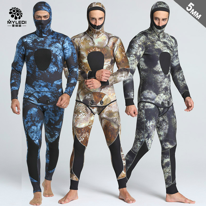 5MM Camouflage Fission Two Piece Hooded Submersible Suit Surfers For Fishing And Hunting Suit Men s