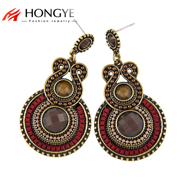 2 cores Das Mulheres Do Vintage Exagerada Étnica Encantos Beads Pingentes Declaração de Brincos para Mulheres Moda Bijoux Bohemia Brincos