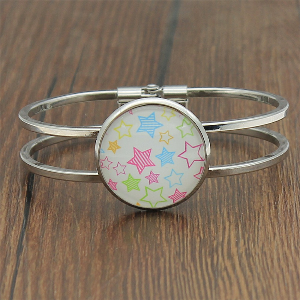 Colorful Stars Photo 25mm Glass Cabochon Bangle For Women High Quality Jewelry Dropshipping 2019 Fashion in Bangles from Jewelry Accessories