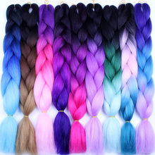 FALEMEI Crochet Hair Extensions Ombre Kanekalon Braiding Hair One Piece 100g Pack 24Inch Afro Bulk Hair