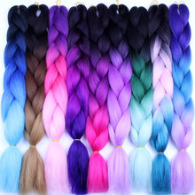 FALEMEI Synthetic Crochet Hair Extensions Ombre Jumbo Braiding Hair 100g/Pack 24Inch Afro Bulk Hair Jumbo Crotchet Braids(China)
