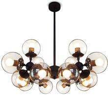 Vintage led pendant lights lamparas colgante For Dining Room Globe Cognac Glass Shade hanging lights Black Lightings Fixture C13