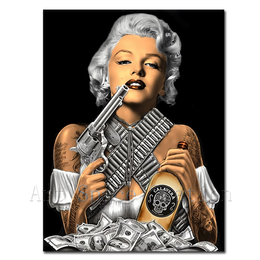 Buy marilyn monroe gangster poster with for Marilyn monroe tattoo canvas