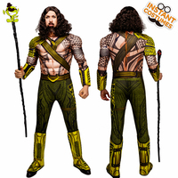 QLQ Halloween Party Aquaman Costume Cosplay Super Hero King Jumpsuit Role Play Muscle Aquaman Costumes For Adult Men's