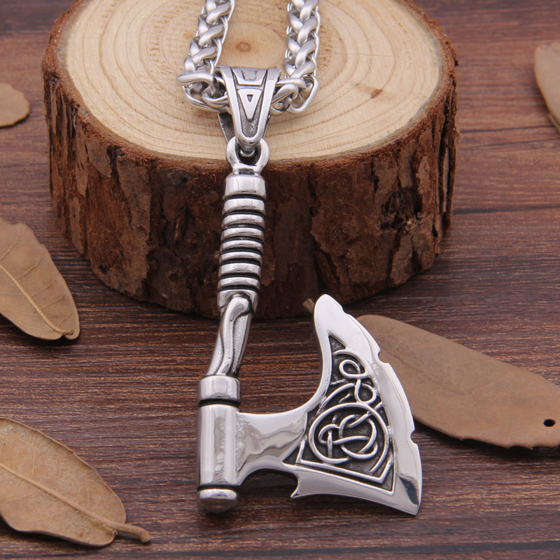 316 Stainless steel Viking Ax Pendant Necklace Rune Ax bottle opener fit man gift цена