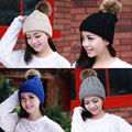 Ball Beanie Winter Lady Warm Knitted Cap Vintage Women Fur Ball Pompom Hat Female Hedging Cap Beanies