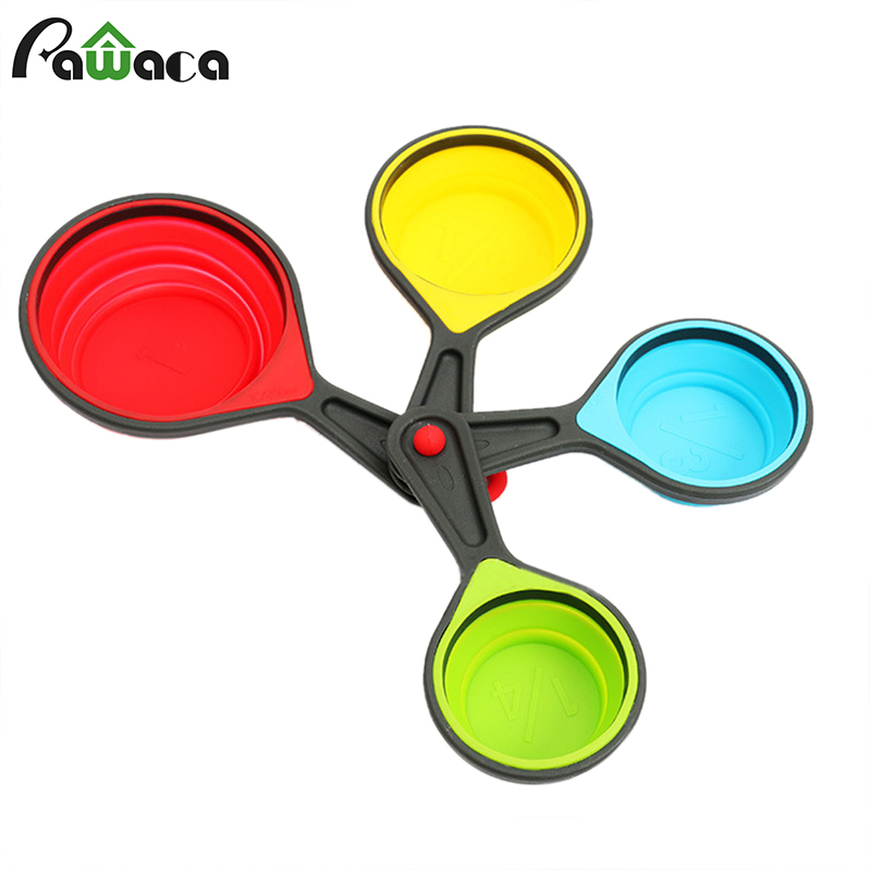 4pcs/set Silicone Folding Cup Holder Portable Measuring Cups Baking Spoon  Set Ice Cream Collapsible Retractable