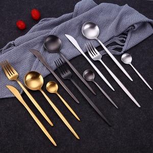 Image 2 - 24 adet/takım sofra takımı seti 304 paslanmaz çelik siyah çatal bıçak kaşık seti yemek takımı bıçak çatal seti sofra altın plaka Drop Shipping