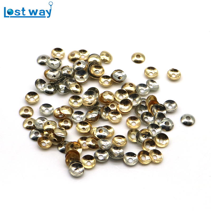 Lost Way Approx 1000Pcs Wholesale Mixed Gold Silver Loose Beads Filigree Spacer Bead Caps Jewelry Findings Making End Caps