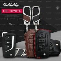 KUKAKEY Remote Smart Autosleutel Case Voor Toyota Corolla Prado REIZ Crown RAV4 Hilux Yaris Lederen Auto Sleutelhanger Houder Cover Bag