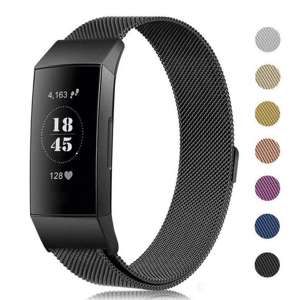 hooroor Metal Band Compatible for Fitbit Charge 3 Bands Stainless Steel Milanese Magnetic Closure Clasp Sport Bracelet Wristband Replacement for Fitbit Charge 3 /& SE