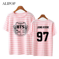 Youpop KPOP BTS Bangtan Boys Album Stripe Shirts K POP Classic Cotton Clothes Tshirt T Shirt