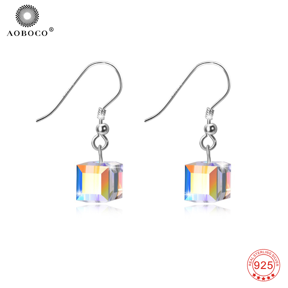 925 Sterling Silver Swarovski Square Crystal Drop Earrings Cube Dangle Earring Wedding Party Jewellry ...