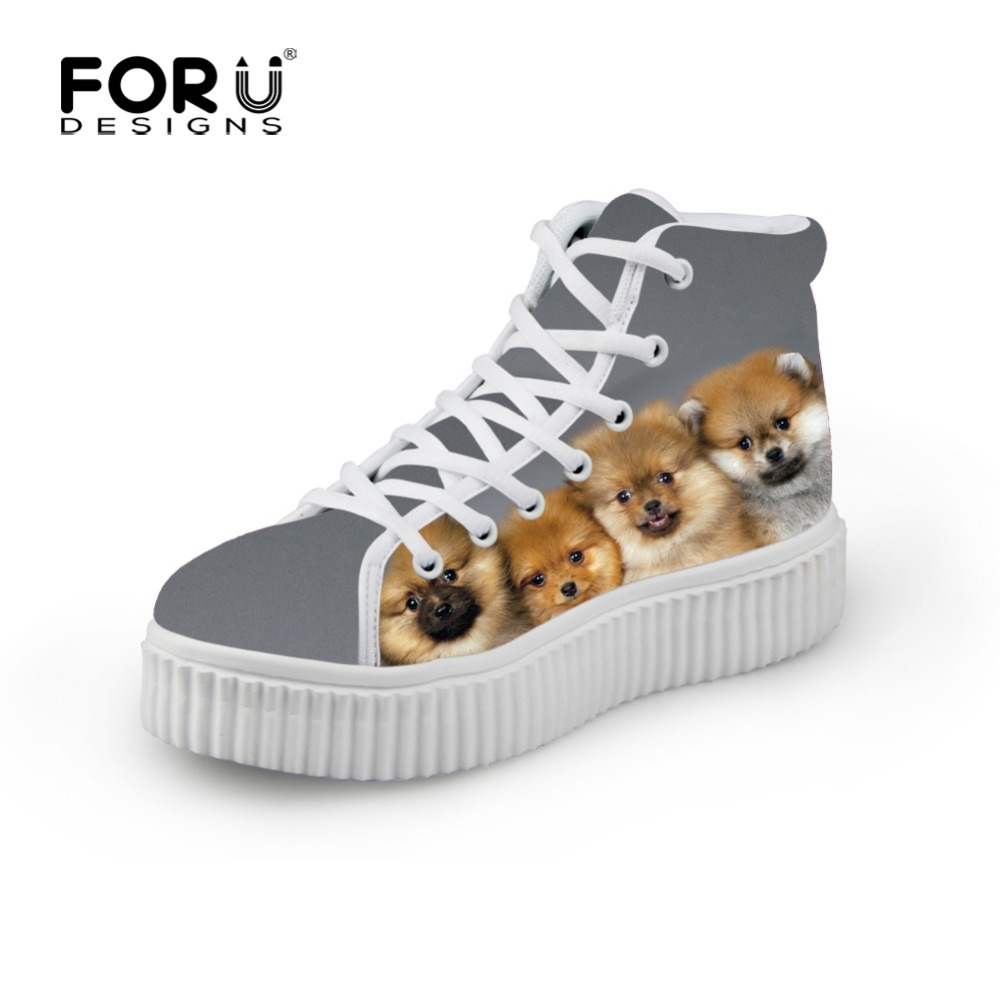 e563adf9a14f Fashion Women White High-Top Platform Shoes Cute Pet Dog Printed Shoes,Casual  Breathable Lace-up Shoes Female Leisure Sapatos
