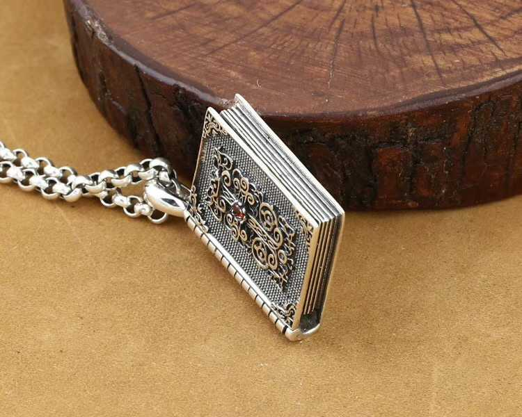 SOQMO Thai Silver Cross Pendant Holy Bible 925 Sterling Silver Jewelry With Natural Red Garnet Stone Box Mens Pendants Jewelry