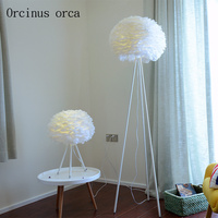 Nordic modern simple feather floor lamp living room bedside study warm romantic creative white floor lamp free shipping